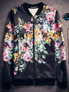 2015 Latest Design Men Coat Fashion Fit Slim Floral Printed Clothing