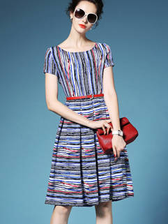 Retro Style Slimming Striped Printed Pleated Dress For Women
