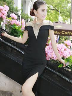 Sexy Korean Women Slit Sequined Off Shoulders Black Dress