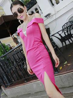 Trendy Wholesale Women Slit Wrap Off Shoulders Red Dress