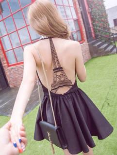 Alluring Women Backless Halter Beading Cocktail Elegant Black Dress