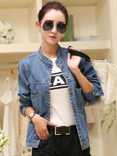 Japanese Style Women Short Coat Latest Design Denim Fashion Cool Solid Color