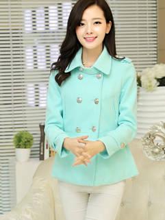Modern Design Solid Slimming Lapel Cashmere Coat For Women