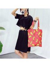 Popular Design Leisure Banana Printed Zipper Tote Bag