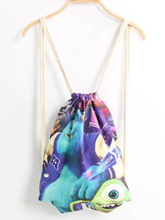 Individual Casual String Monster Printed Canvas Backpacks