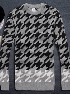 2015 New Arrival Men Sweater Street Style Knitting Wear Geometric Printed