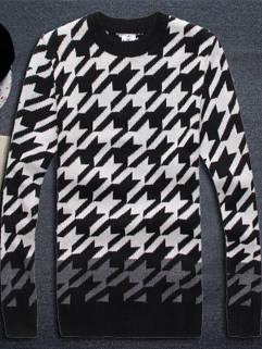 2015 New Fashion Men Sweater Street Style Slim Fitness Geometric Printed