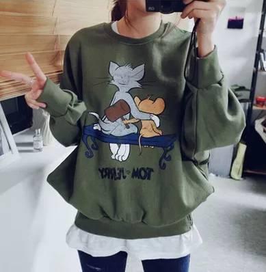 Korean Cartoon Printing Long Bat Sleeve Casual Women Hoodies