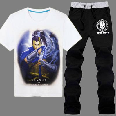 Latest Design Men Suits LOL The Unforgiven Yasuo Printed Tee Black Pants