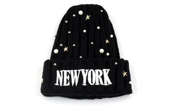 Fashion Black Rivets&Pearls Embellished Casual Hat