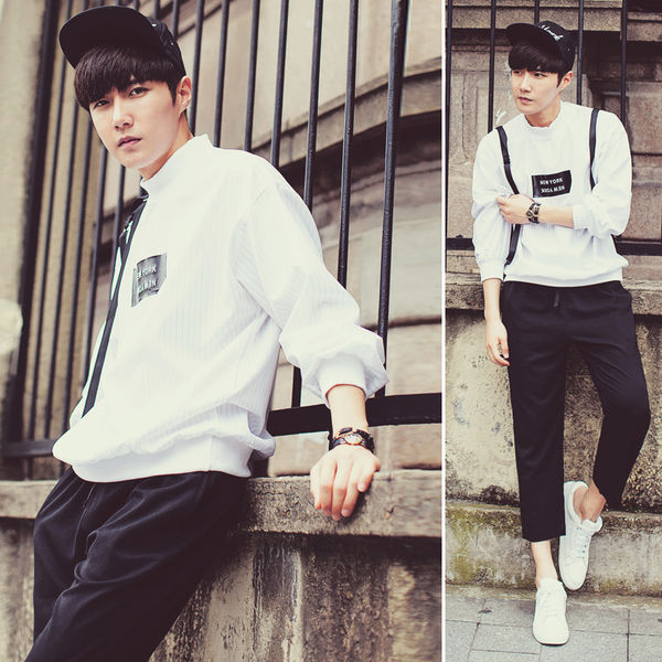 2015 New Fashion Men Tee Hip Hop Style Loose Young Letter Printed
