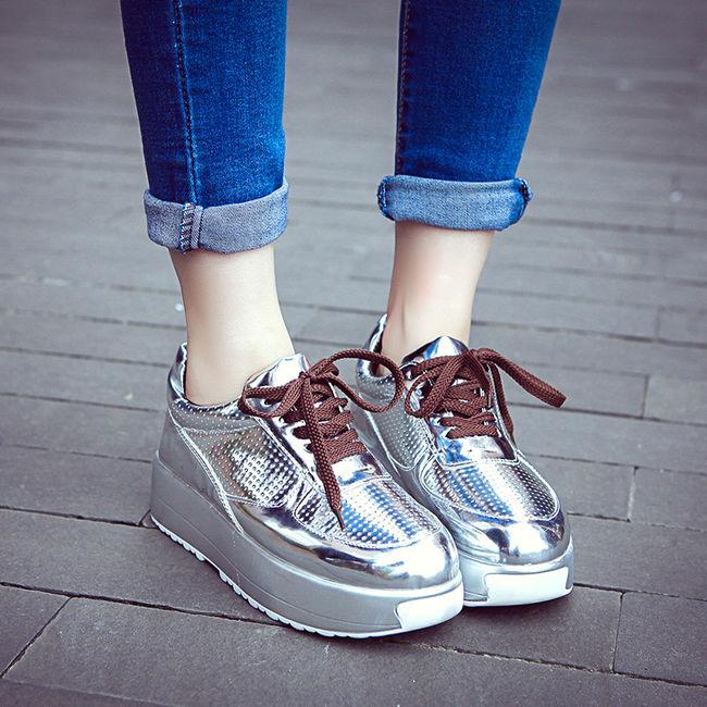 Stylish Silvery Lace Up Fantasy Round Toe Korean Style Platform