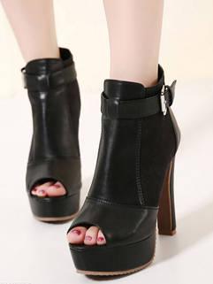 Elegant Style Black High Heel Splicing Peep-toe Ankle Boots For Women