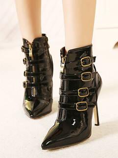 Newly Design Street Wear Black Buckle-loop Splicing Boot