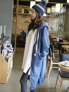 Fashion Simple Women Long Sleeve Loose Blue Pocket Casual Hoodies