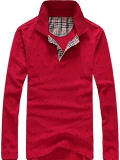 Latest Design Men POLO Shirt Korean Style Lapel Dot Printed Long Sleeve