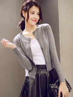 Korean Style Women Knitting Cardigan Fitness Slim Casual Dark Gray Clothing