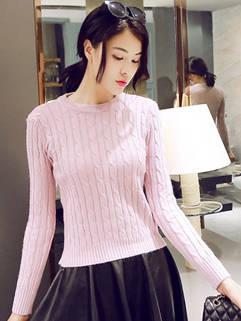 Latest Korean Style Women Knitting Pullovers Slim Casual Warm Pretty