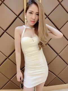White Backless Halter Beading Plunging Neck Women Dress