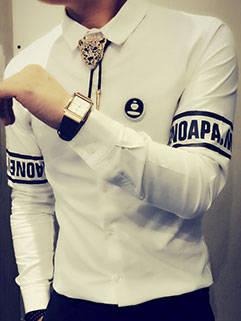 Latest Autumn Design Men Shirt Korean Style Handsome Letter Printed On Sleeve