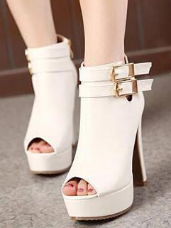 Latest Autumn Fashion Peep Toe Stiletto Heel Buckles Ankle Boots