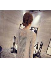 Ladylike Collarless Slimming Openwork Knitwear For Women