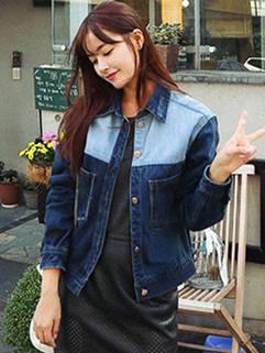 Fashion Casual Women Patchwork Long Sleeve Short Coat