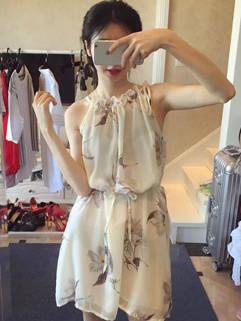 Wrinkle Fashion Floral Halter Mini Chiffon Dress