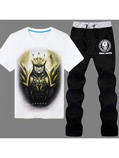2015 Latest Design Men Suits LOL Series JarvanIV Printed Tee Black Pants