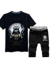Latest Design Men Suits LOL Black JarvanIV Printed Tee Black Shorts