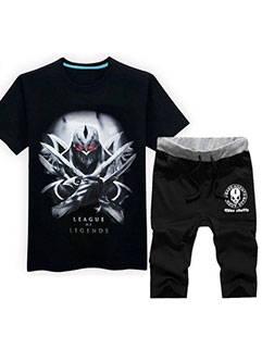 Latest Design Men Suits LOL Black Zed Printed Tee Black Shorts