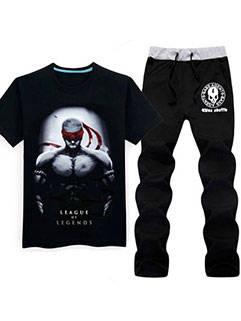 Latest Design Men Suits LOL Black Blind Monk Lee Sin Printed Tee Pants