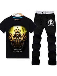 2015 Summer New Men Suits LOL Loose JarvanIV Printed Tee Pants