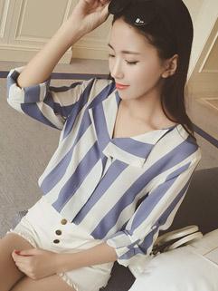 Ladylike Lapel Slimming OL Match Striped Pattern Chiffon Blouse For Women