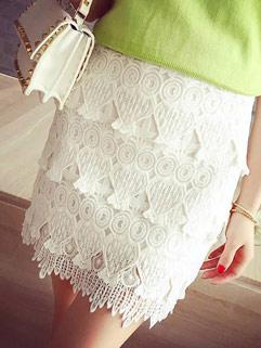 Stereo Design White Crochet Splicing Hollow Out Skirt For Women