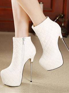 White High Stiletto Heel Plaid Pu Boots