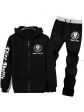 2015 New Arrival Men Suits Punk Style Cool Skull Printed Coat Black Pants