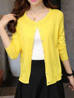 Refreshing Style O Neck Long Sleeve Elegant Cardigan Knitwear For Women