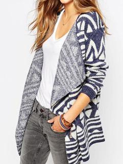 Euro American Fashion Blue Long Sleeve Geometric Pattern Loose Cardigan