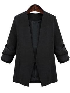Size 4XL Plunging Neck Long Sleeve Split Women Black Blazer