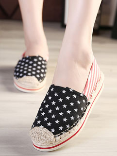 Lazy Style Red Star Print Splicing Canvas Flat For Women