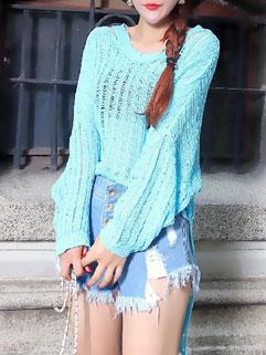 Loose-fitting Solid Color Off Shoulder High-low Hem Sweater For Women