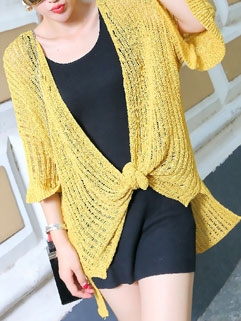 Casual Style Loose Collarless Solid Color Flare Sleeve Cardigan