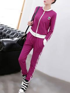 Korean Autumn Design Long Sleeve Long Pockets Pant Violet Activewear