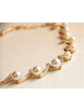 Gorgeous Style Pearl&Rhinestone Embellished Golden Necklace