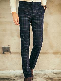 2015 Autumn Fashion Men Pants Fashion Handsome Straight Navy Blue Block Printed