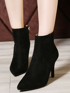 Sexy Style Black Suede Pointed Toe Zippered Martin Boot