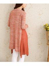 Autumn Newly Design Pink Slimming Spliced Collarless Cardigan