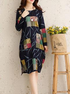 Solid Color Print Loose-fitting Vintage Design Long Sleeve Dress