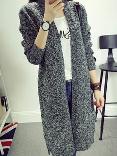 Solid Color Concise Style Double-pockets Slimming Cardigan Sweater